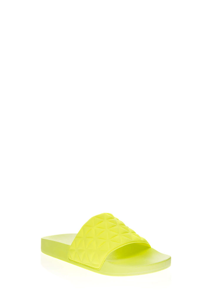 Love Triangles Geometric Slide Sandals NEONYELLOW