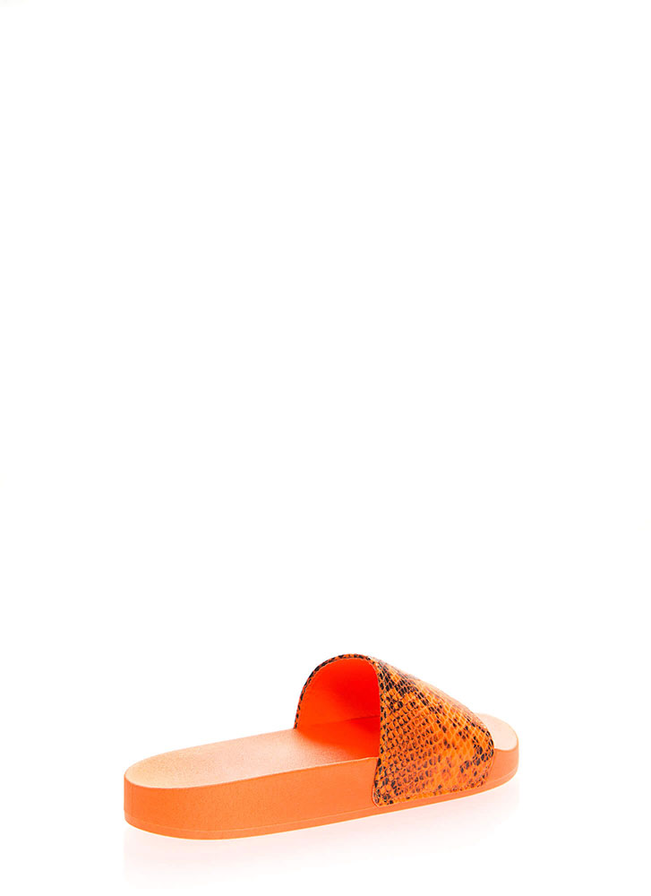 Cool As A Cobra Faux Snake Slide Sandals NEONORANGE