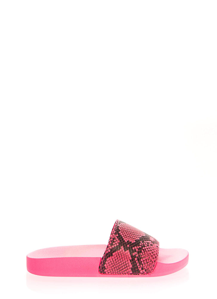 Cool As A Cobra Faux Snake Slide Sandals NEONPINK