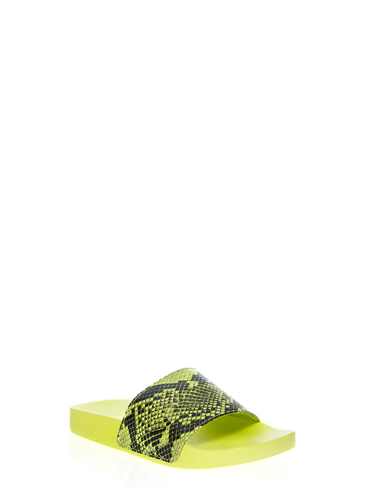 Cool As A Cobra Faux Snake Slide Sandals NEONYELLOW