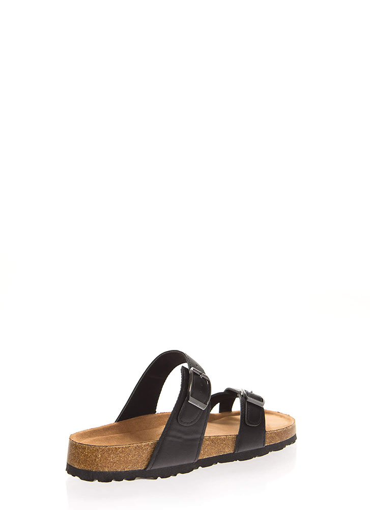 Happy Trails Strappy Buckled Sandals BLACK