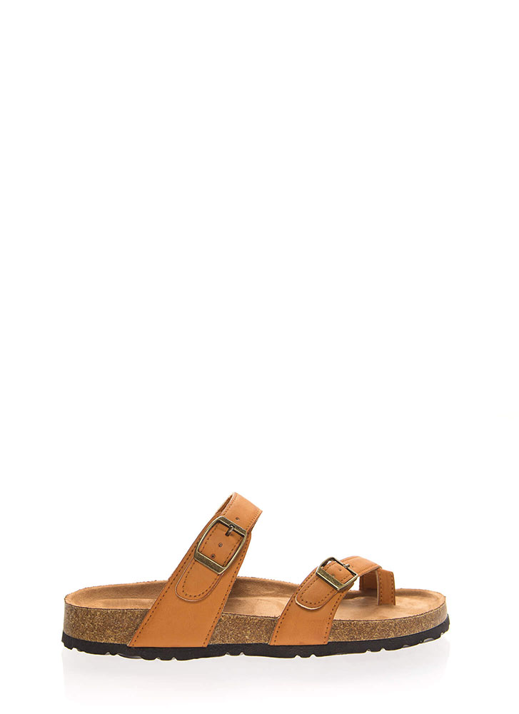 Happy Trails Strappy Buckled Sandals TAN
