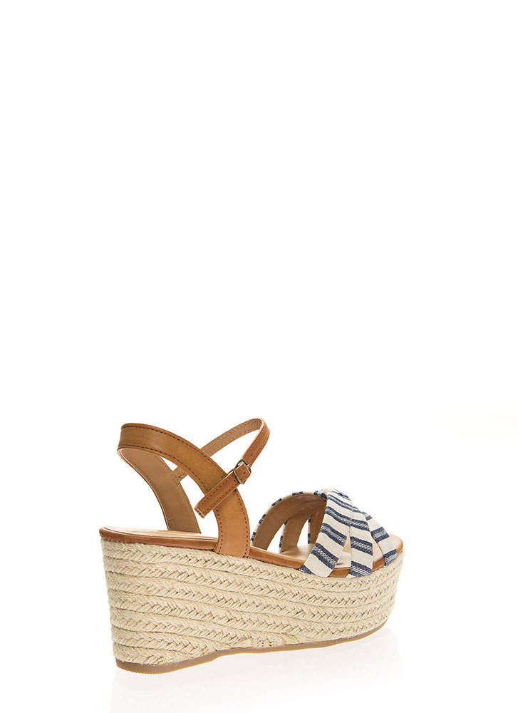 Striped And Strappy Platform Wedges NAVY
