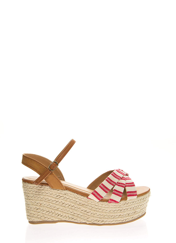 Striped And Strappy Platform Wedges RED