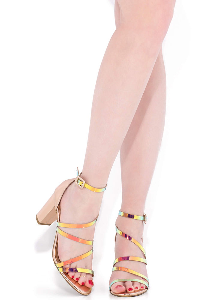 Striking Chunky Holographic Strap Heels UNICORN (Final Sale)