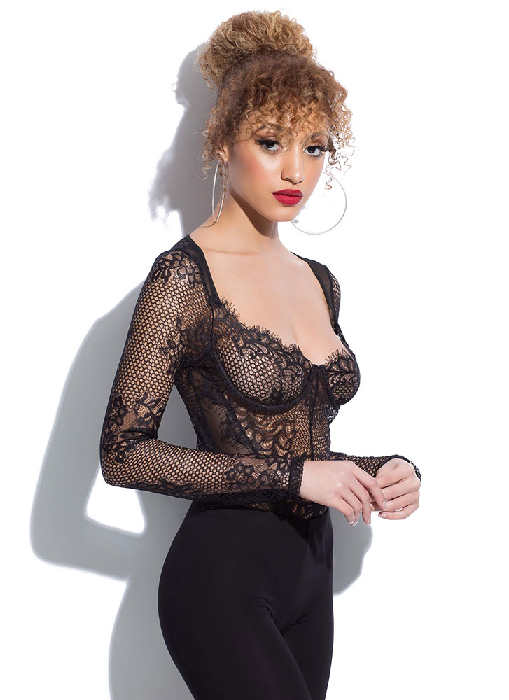 Holey Night Sheer Lace And Mesh Bodysuit BLACK (Final Sale)