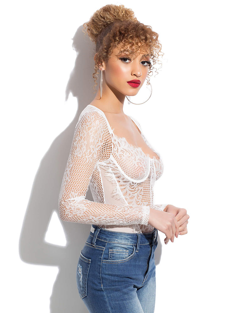 Holey Night Sheer Lace And Mesh Bodysuit WHITE