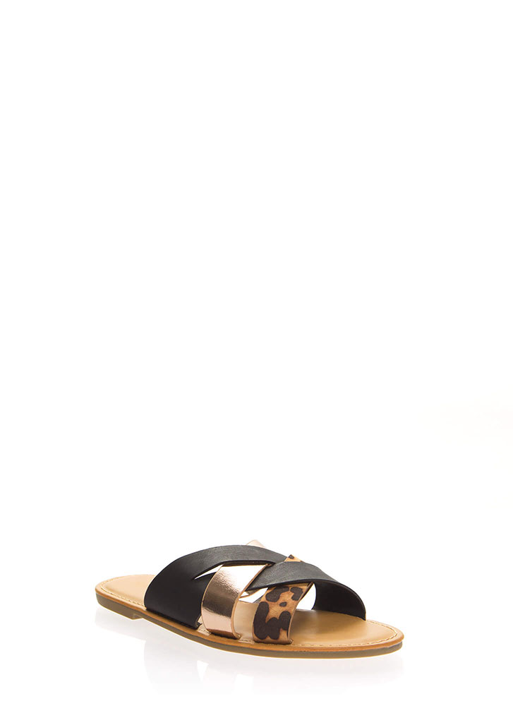 Weave A Tale Strappy Slide Sandals BLACK