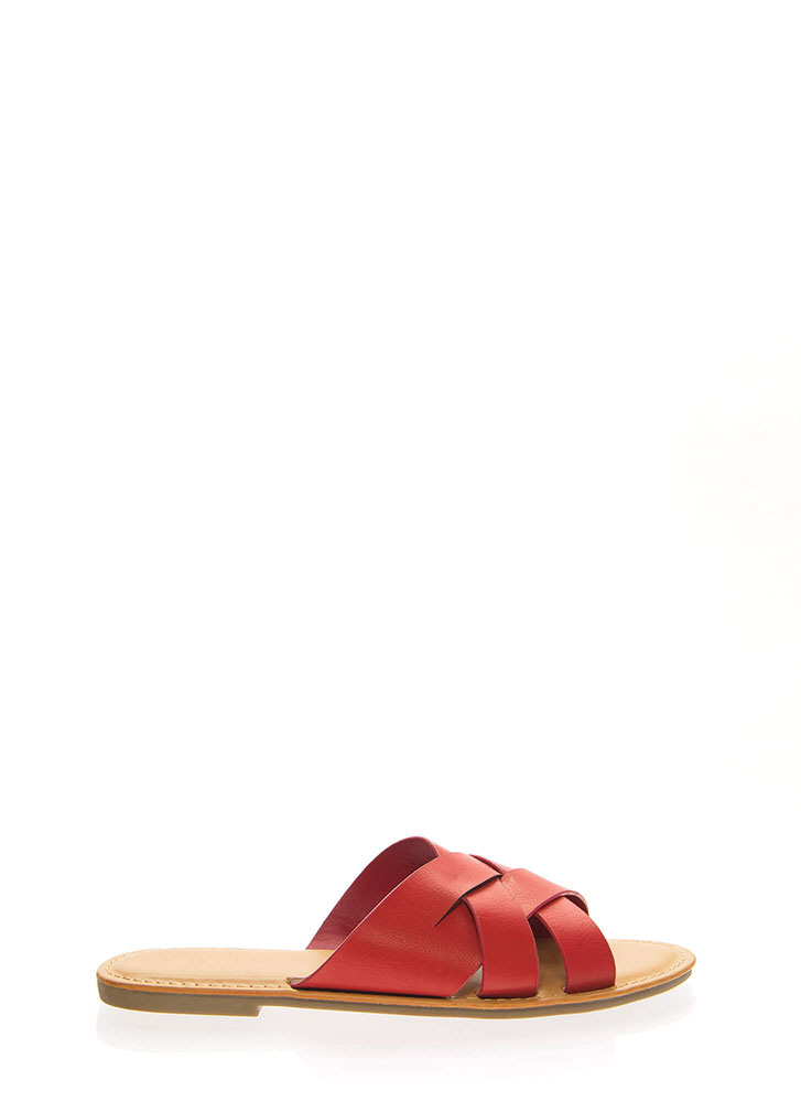 Weave A Tale Strappy Slide Sandals RED