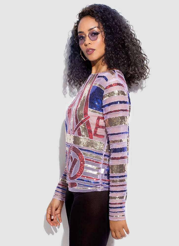 Do At Me Sheer Striped Sequined Top MULTI