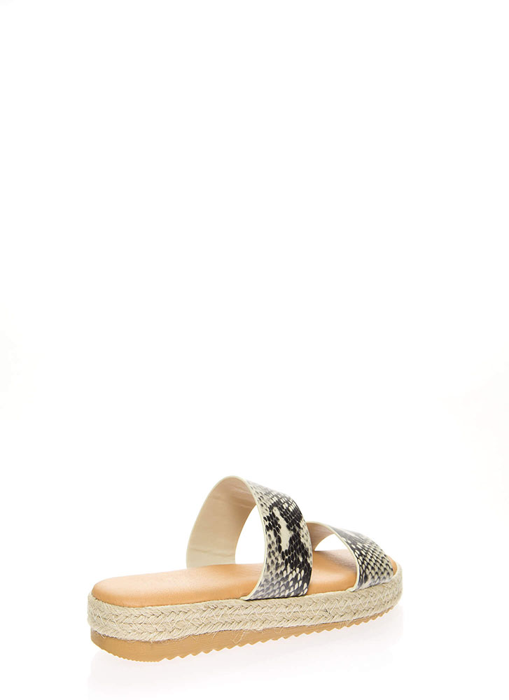 Perfect Platform Snake Slide Sandals BEIGE