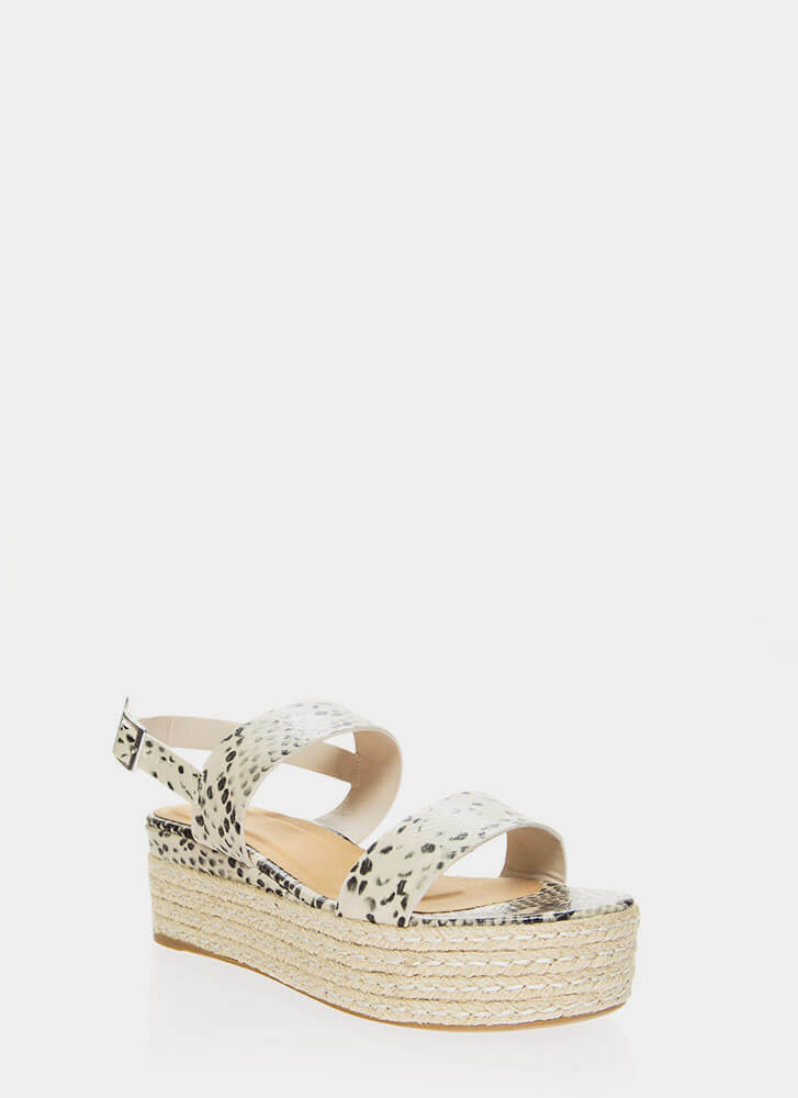 Vacay Braided Faux Snake Platform Wedges BEIGE