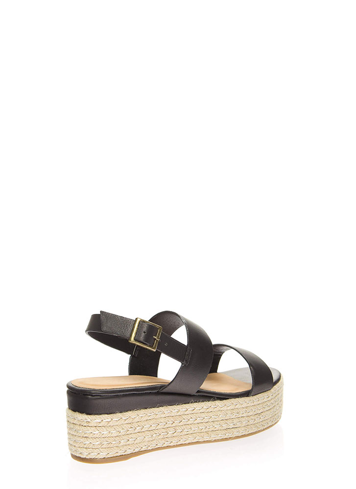 Vacay Strappy Braided Platform Wedges BLACK