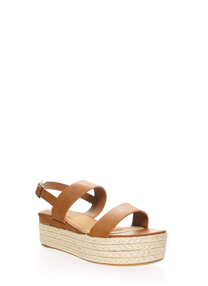 Vacay Strappy Braided Platform Wedges TAN