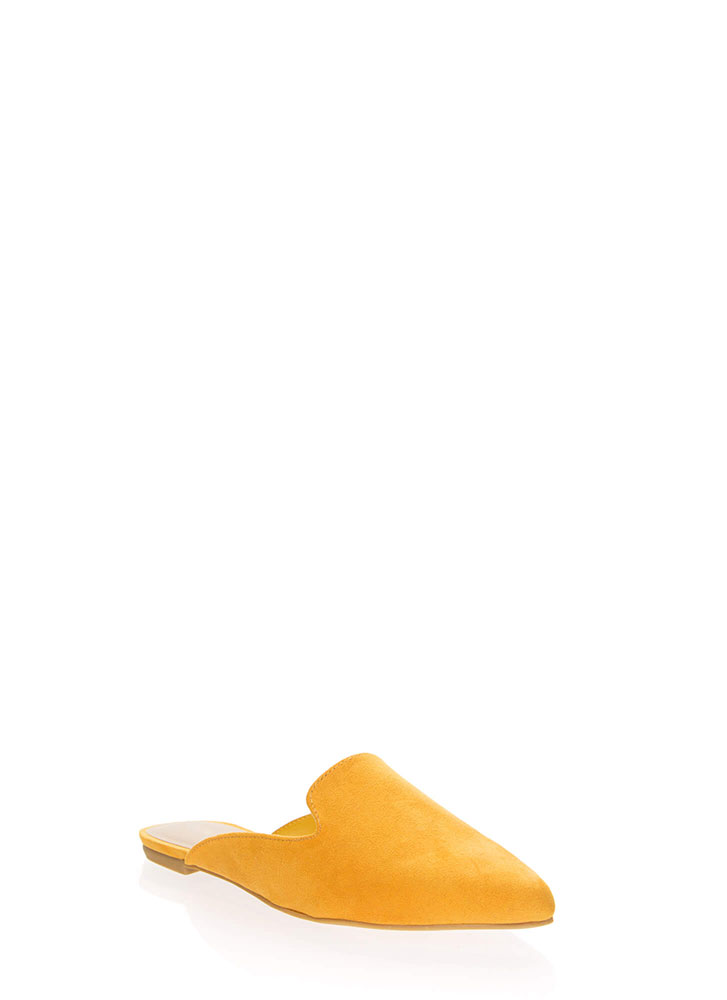 Smoke In Your Eyes Faux Suede Mule Flats MARIGOLD