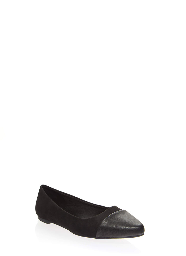 Keep Me On My Toes Faux Suede Flats BLACK