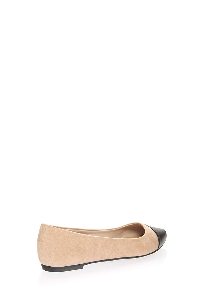 Keep Me On My Toes Faux Suede Flats NUDE
