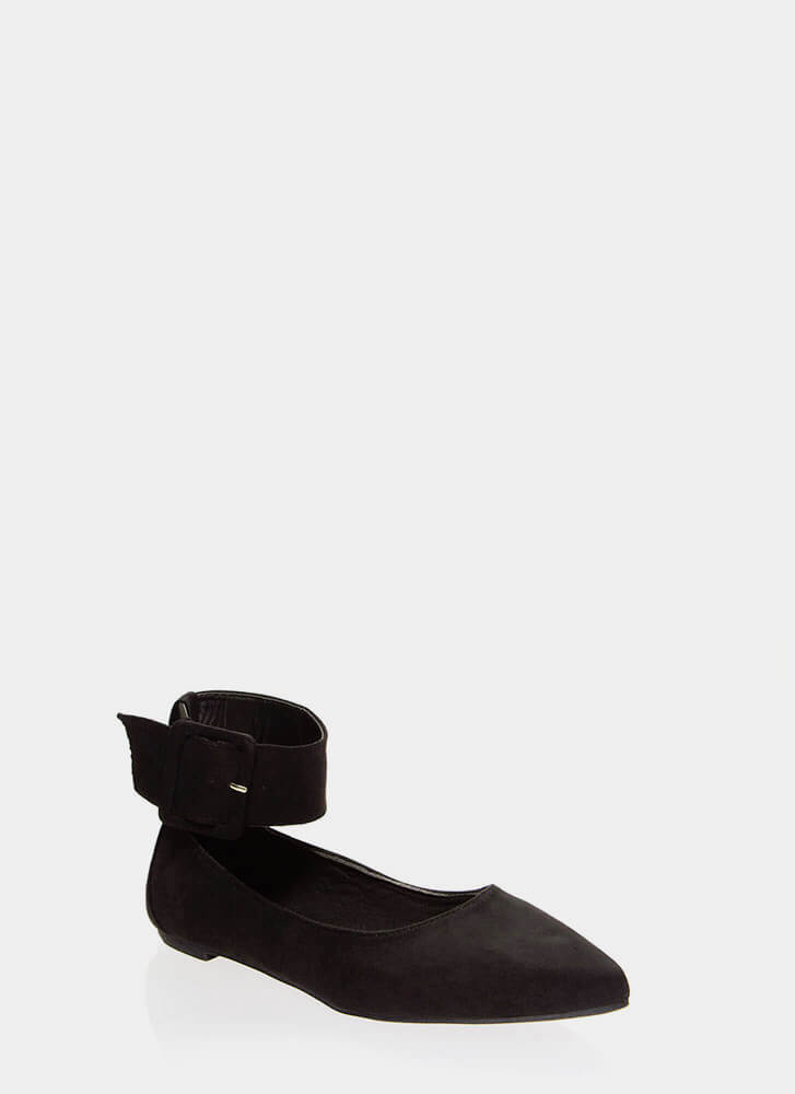 Cuff Love Pointy Ankle Strap Flats BLACK (Final Sale)