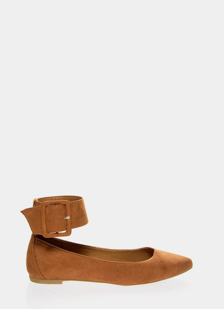 Cuff Love Pointy Ankle Strap Flats DKCAMEL