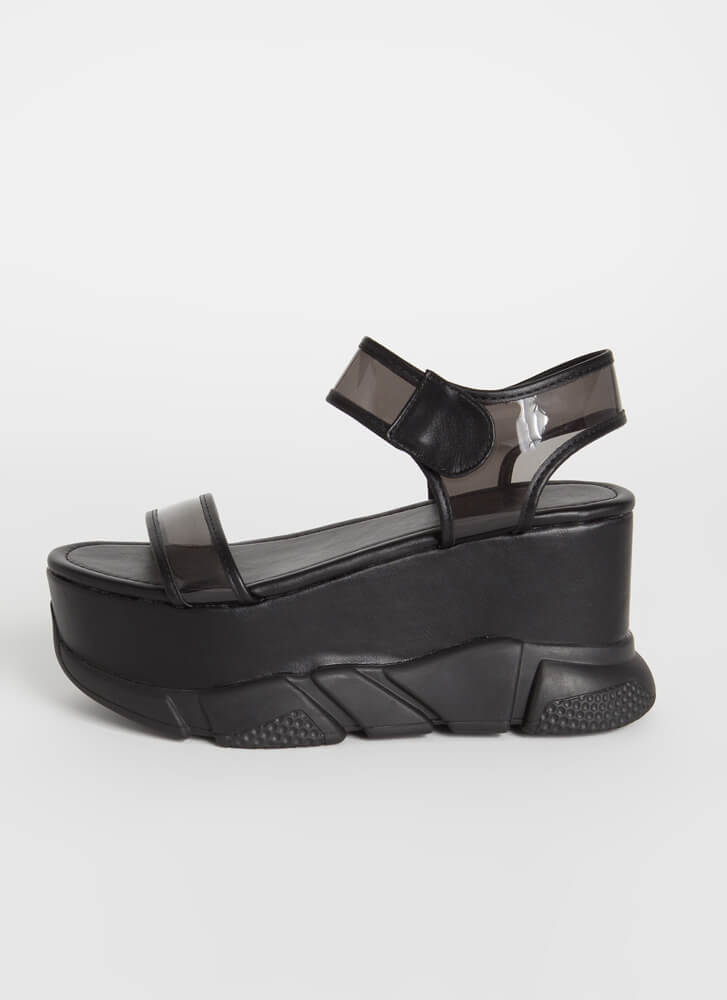 Clear View Sporty Chunky Wedges BLACK