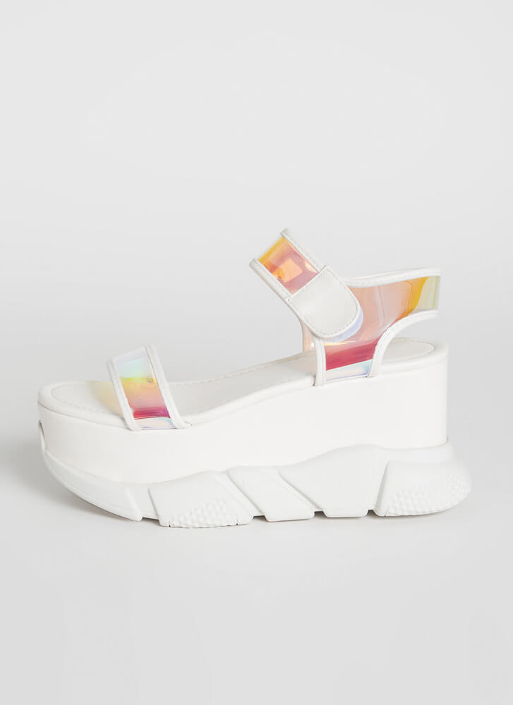 Clear View Sporty Chunky Wedges WHITE