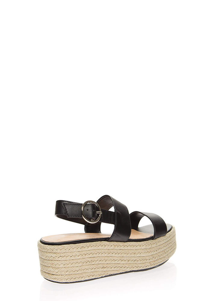 High Tide Braided Platform Sandals BLACK