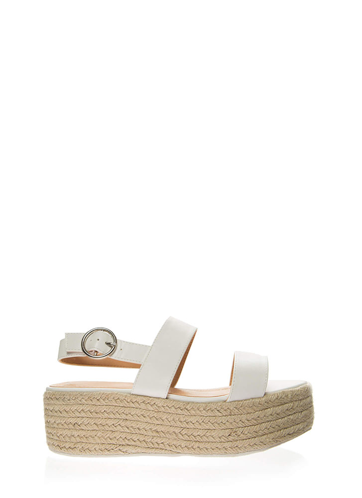 High Tide Braided Platform Sandals WHITE