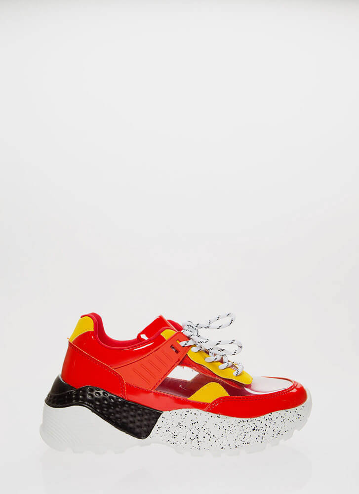 Clear Advantage Splatter Sneakers RED