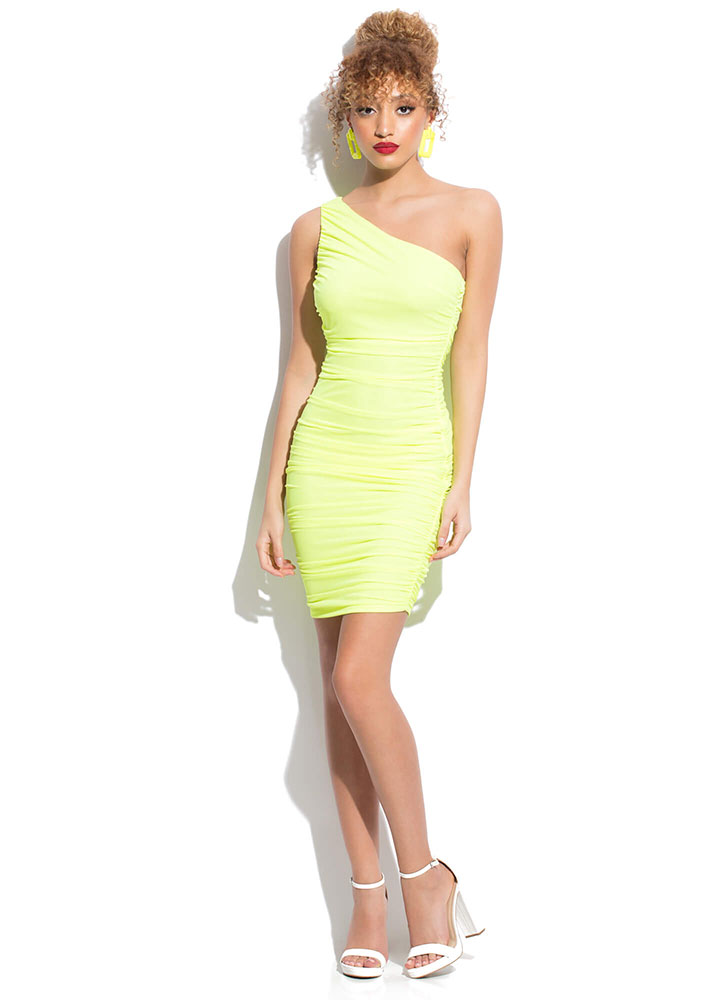 On My Shoulder Asymmetrical Ruched Dress NEONYELLOW