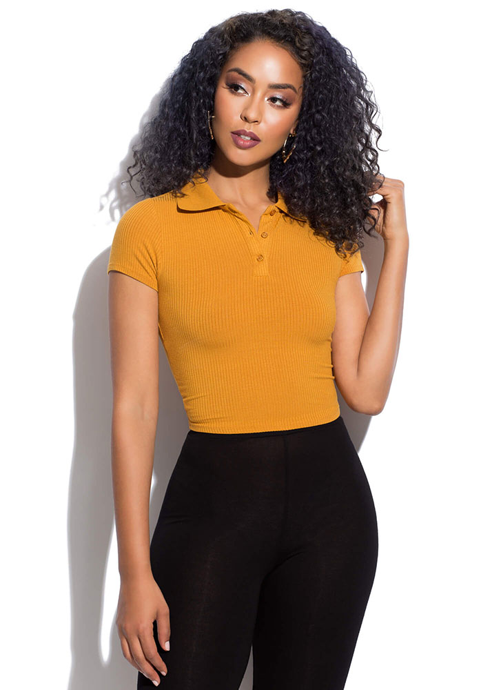 Cute As A Button Collared Crop Top MUSTARD
