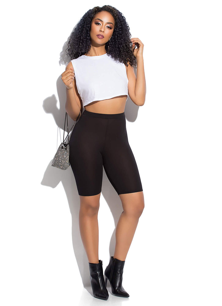 Hey Shorty Cropped Muscle Tank Top WHITE