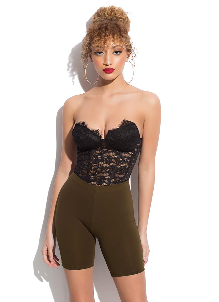 I Need You In My Life Biker Shorts OLIVE