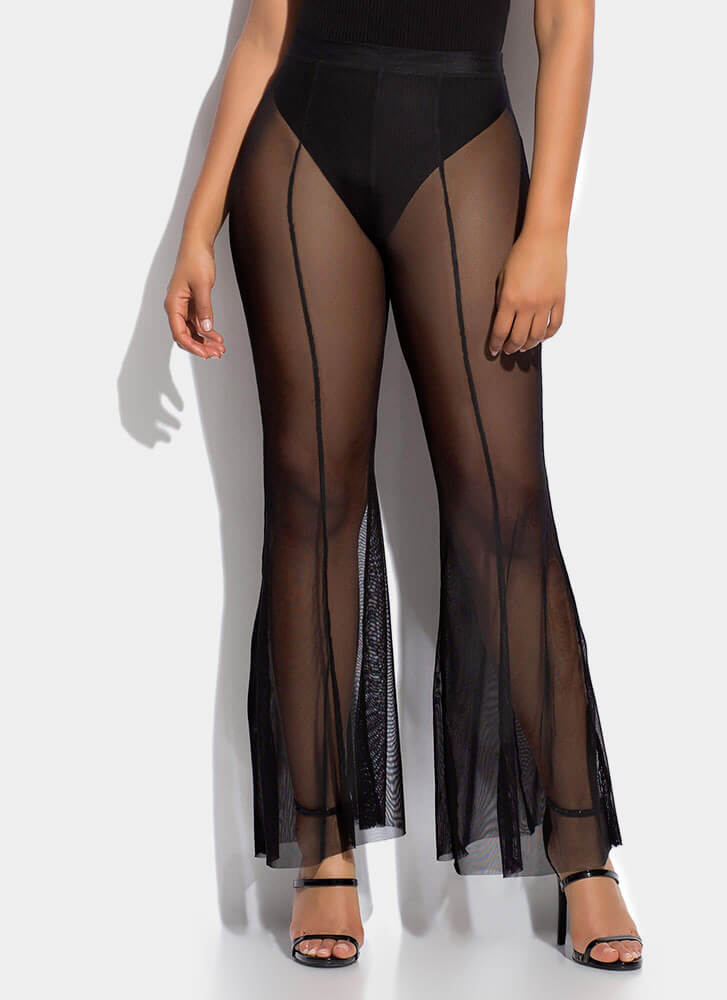 Sheer Fun Mesh Bell-Bottom Pants BLACK
