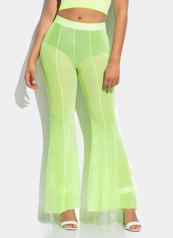 Sheer Fun Mesh Bell-Bottom Pants NEONGREEN