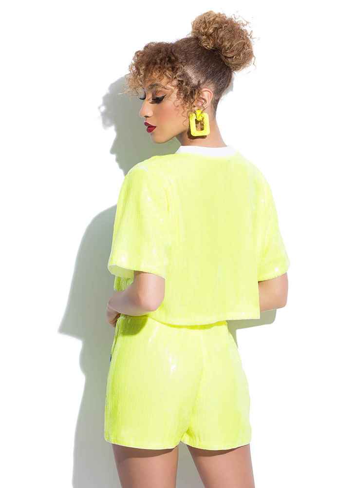 Number 8 Sequined Top And Shorts Set NEONLIME