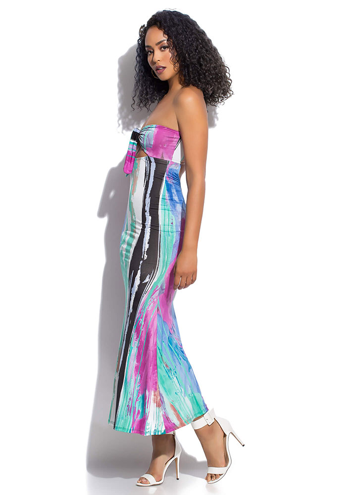 Abstract Art Strapless Tied Maxi Dress MULTI