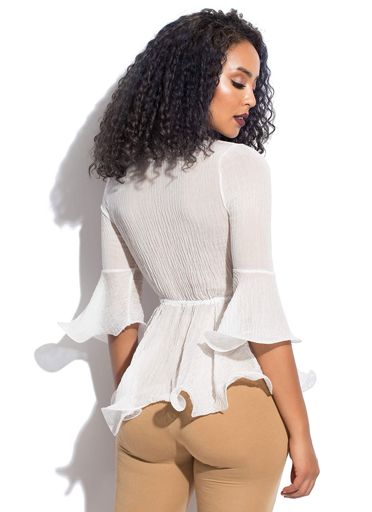 Crepe Expectations Tie-Front Blouse WHITE