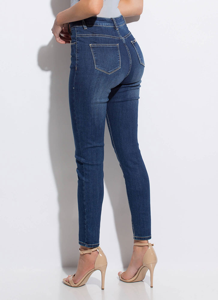 Baby Blues Button-Fly Skinny Jeans BLUE