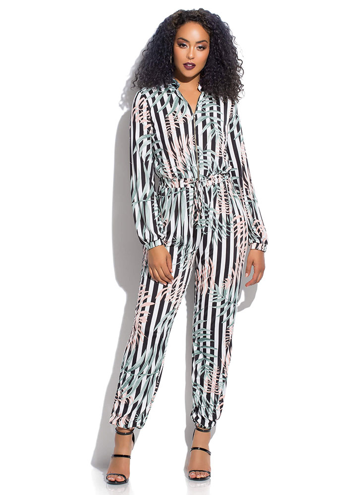 Leaf Me In My Striped Jogger Jumpsuit BLACKWHITE