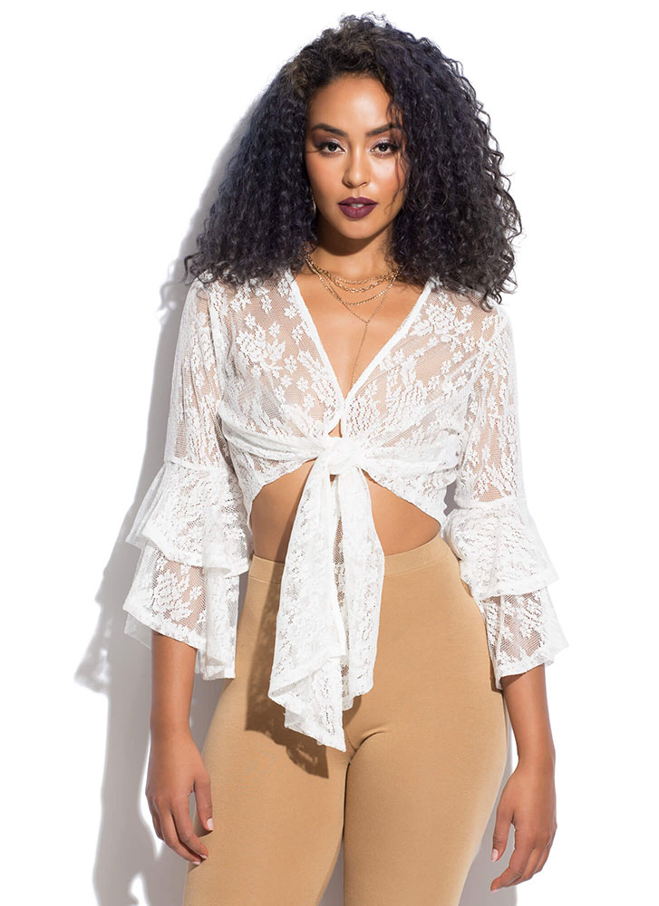 Feeling Poetic Tied Lace Crop Top WHITE