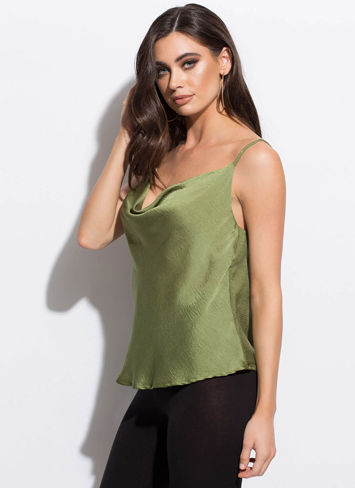 Night Cowl Silky Draped Tank Top OLIVE