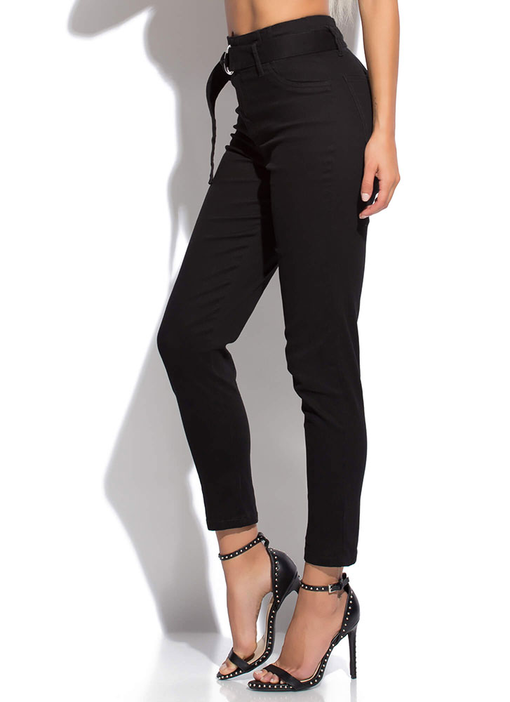 I'm There For You Belted Trousers BLACK