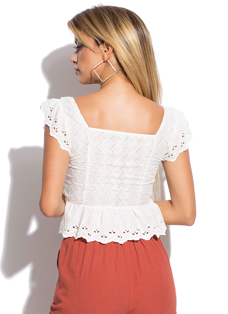 Open Your Eyelets Cinched Peplum Top WHITE