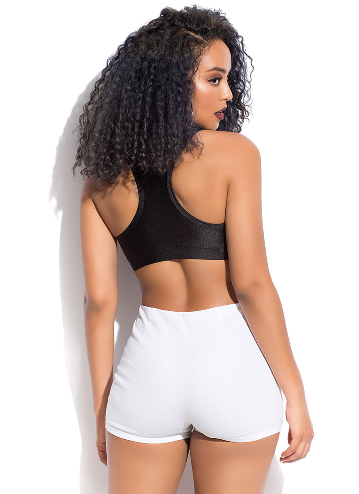 Ring Of Fire Zipper-Front Shorts WHITE