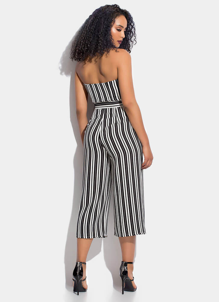 On Stripe Strapless Cropped Jumpsuit BLACKWHITE