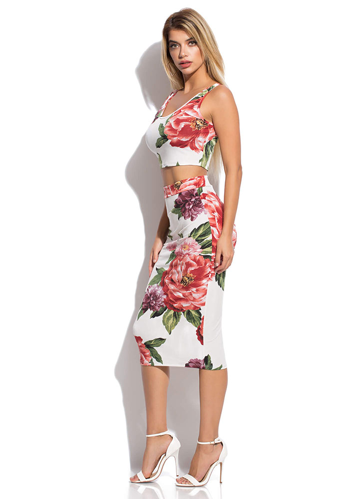 A Big Bouquet Floral Top And Skirt Set MULTI