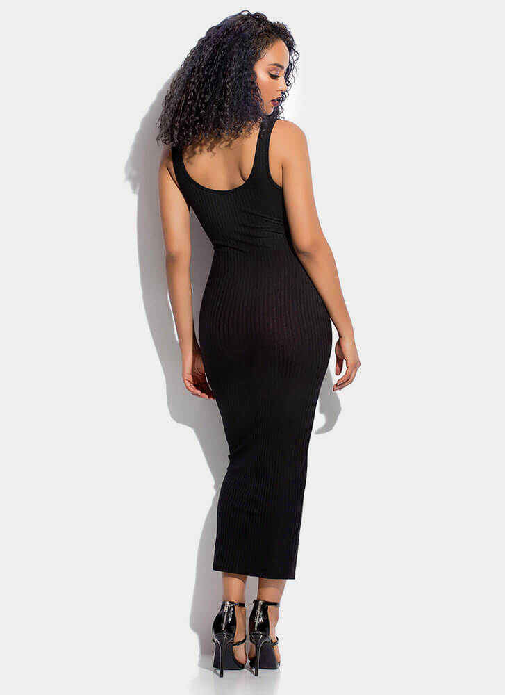 Tied And True Rib Knit Maxi Dress BLACK