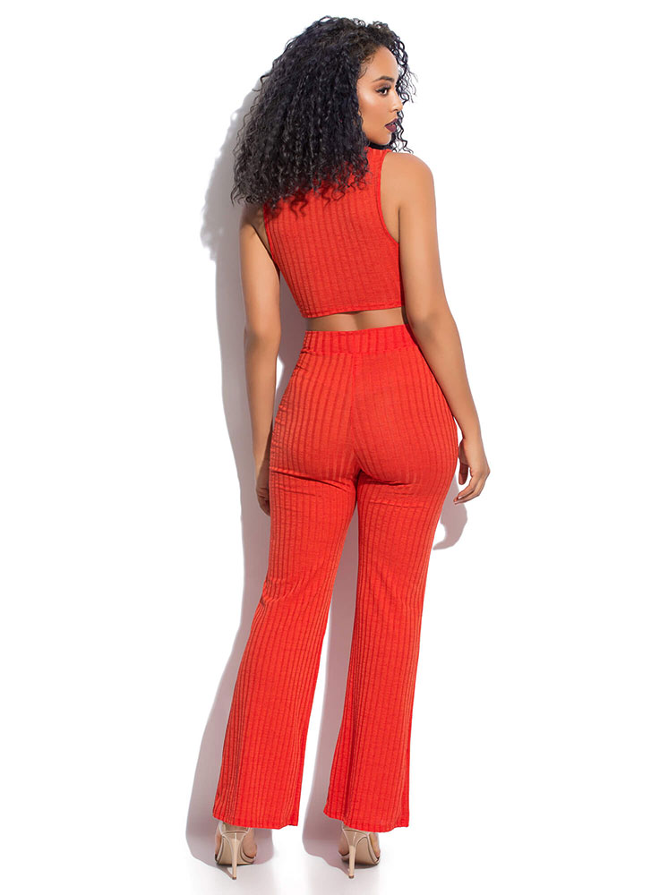 Twist And Turn Ribbed Top And Pant Set ORANGE