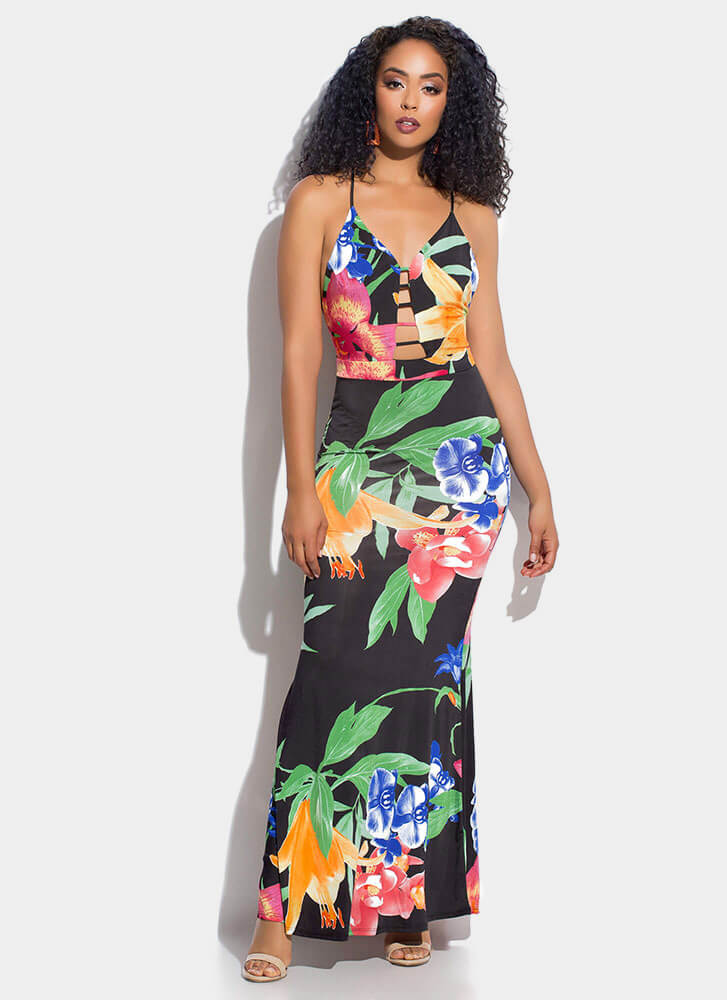 Tropical Flowers Strappy Maxi Dress BLACKMULTI