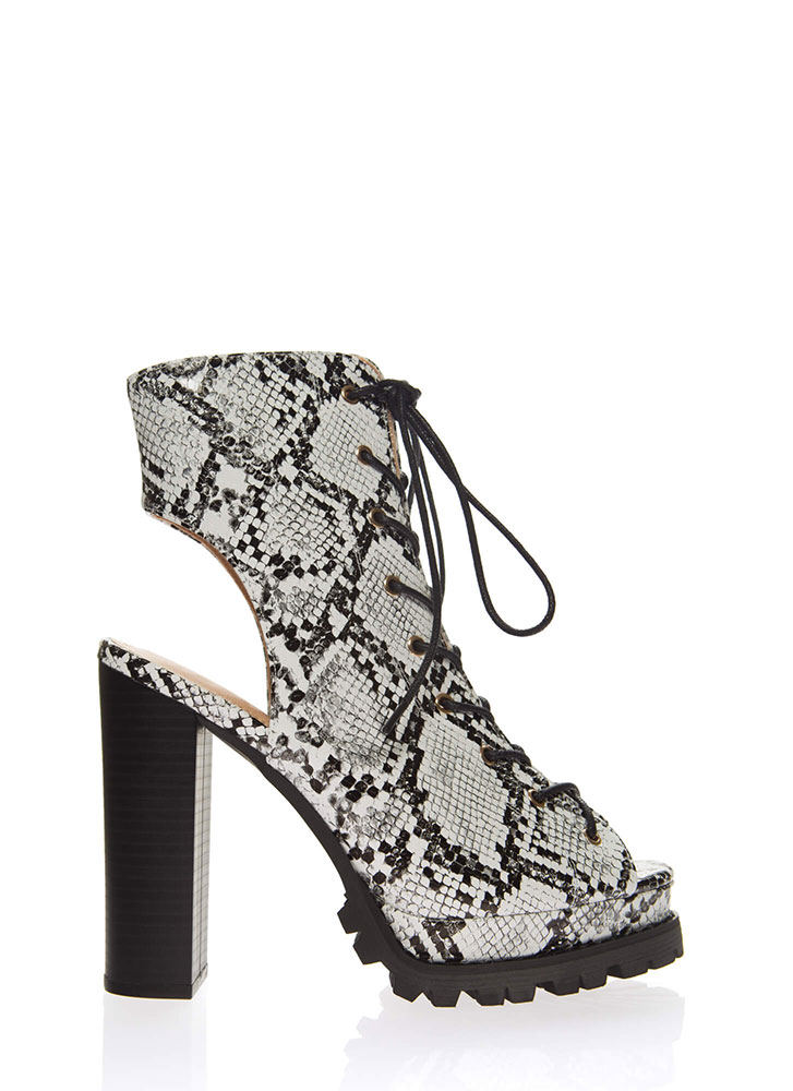 Lug Love Chunky Cut-Out Snake Booties WHITE